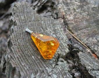 Amber Pendant 011 - small pendant - Baltic amber - handmade - vintage - boho - amber pendant - hand cut amber pendant - amber and silver
