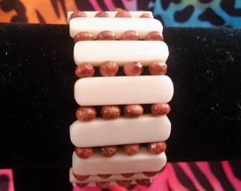 Cinnabar and ivory bracelet