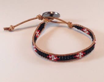 Single Wrap Seed Bead Leather Bracelet