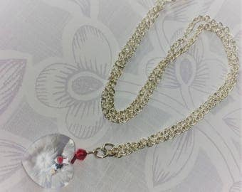 Silver plated pendant with large Swarovski clear crystal heart and Swarovski red bicones