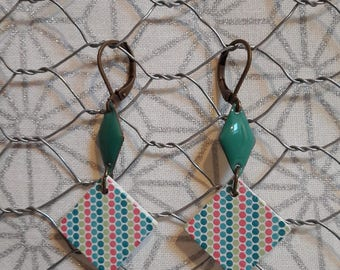 Enamel and wood dangle earrings