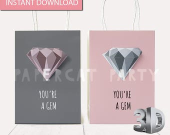 Valentine's Day You're A Gem Gift Bag/ Valentine Favors/ Valentine Party Supplies/ Valentine Goodie Bags/ Valentin Candy Bags/ Goody/ Treats