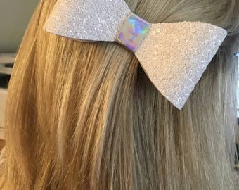 White Glitter Hair Bows