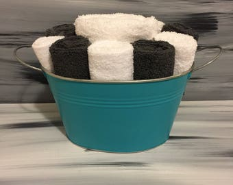 Teal Bathroom Towel/Wash Cloth Bin with metal handles - 1 white hand towel, 5 white and 5 dark gray wash cloths.