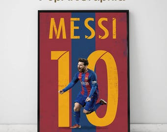 """Messi poster, print, Illustrated messi poster, high quality messi poster, (11""""x17"""")"""