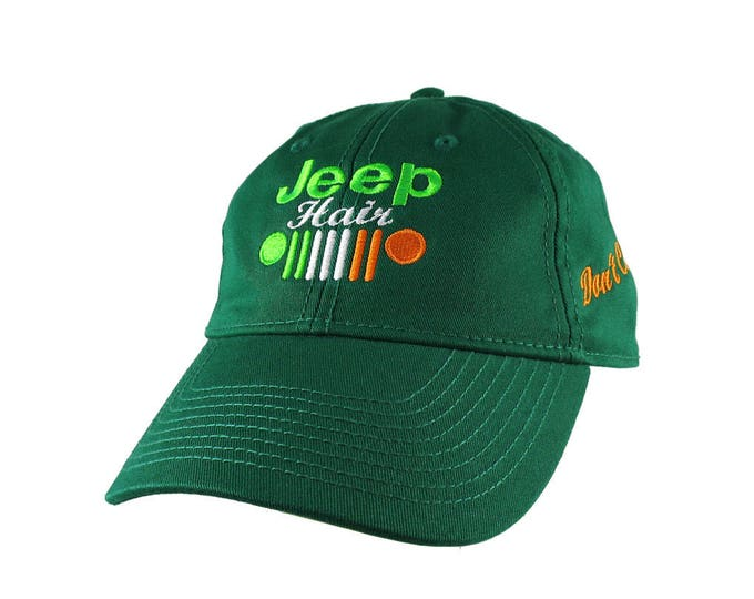 Irish Green Irish Flag Colors Jeep Hair Don't Care Embroidery on Two Locations Adjustable Kelly Green Unstructured Mid-Profile Baseball Cap