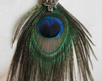 OWL pendant with Peacock feather