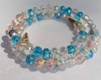 Glistning Clear/Blue/Pink Glass Bead Wrap Bracelet