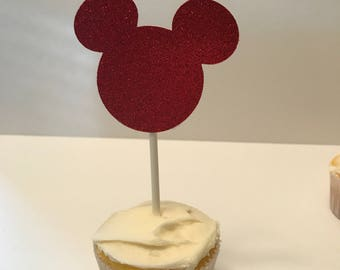 Mickey Cupcake Topper (Red Glitter)