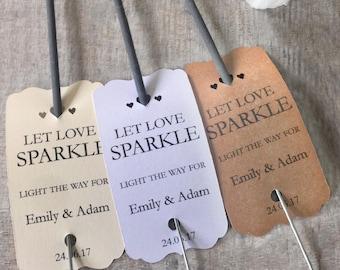 10 Personalised Wedding Favour Sparkler Tags Let Love Sparkle