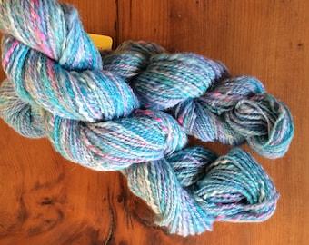 Handspun ryeland silk and alpaca yarn sky blue and pink