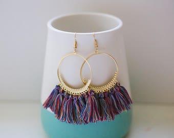 Multicoloured tassel earrings, Pink tassel earrings, Tassel earrings, Statement tassel earrings, Hoop tassel earrings, Tassel hoop earrings