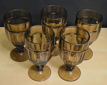Set of 5 Vintage Libbey Gibraltar Duratuff 16 oz Brown Glass Goblets, Chocolate Brown, Iced Tea, Water Glasses, Pedestal