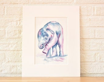 Baby Elephant LIMITED EDITION art print watercolor