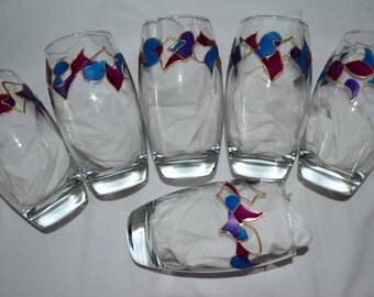 """6 verres à eau, jus de fruits peints """"frise fuchsia, bleu et violet"""", peinture sur verre Opaleisis, sur Etsy"""