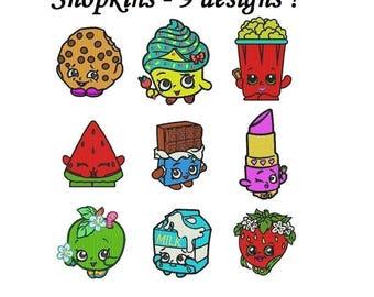 Shopkins Embroidery Design - 9 designs instant download