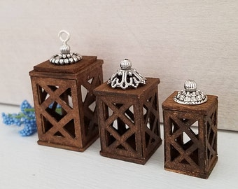 Miniature Lanterns, Miniature Candle Holder, Dollhouse Accessories, Dollhouse Miniatures, Dollhouse Furniture, Decoration, Handmade