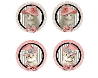 12mm, 2 pairs of cabochons cat Hat
