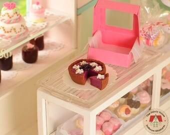 Miniature Pie - Blackberry Mousse, Dollhouse Miniature, Miniature food, Blackberry Pie, Mini food, Doll food, 1:12 scale