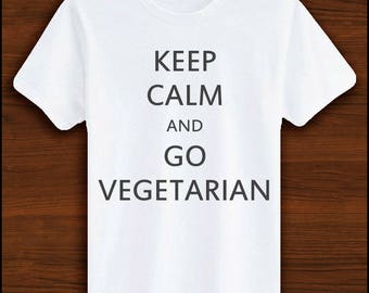 Keep Calm and Go Vegetarian | Vegan Clothing, Vegetarian Clothing, Veggie, Proud Vegetarian, Vegetarian Gifts, Animal Awareness