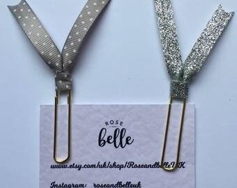 2 Grey glitter/Grey polkadot Paperclips