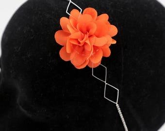 #1169 silver orange flower headband headband