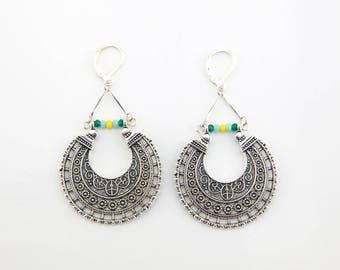 Earrings Bohemian rings silver, yellow and green #1457