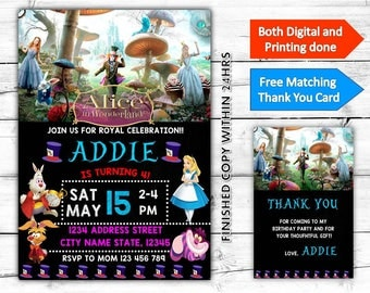 Alice In Wonderland Birthday Printable Invitation Plus Free Thank You Card-Both Digital and Printing done