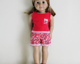 Red Floral Pajamas for 18 inch dolls; fits American Girl dolls