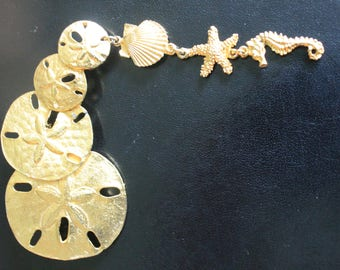 Gold Plated Sand Dollar Brooch By Ultra Craft Vintage
