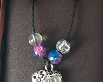 Elephant necklace steampunk galexy beads(glass)(clear)(friendship)