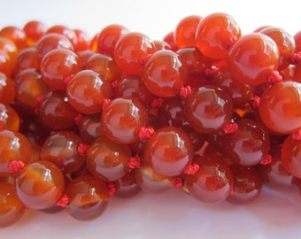 Carnelian Wrap Necklace - Genuine Carnelian Agate & Pure Silk Thread