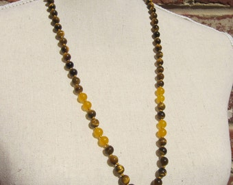 Colonel Mustard - Tigers Eye and Yellow Jade Necklace - Genuine Gemstones & Pure Silk Thread