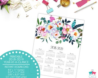 Academic Year-at-a-Glance 2018-2019 | Boho Peonies Flowers | Digital | Instant Download | Printable