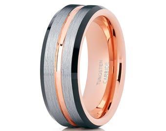 Rose Gold Tungsten Wedding Band Tungsten Wedding Band Black Tungsten Ring Brush Silver Men & Women Comfort Fit