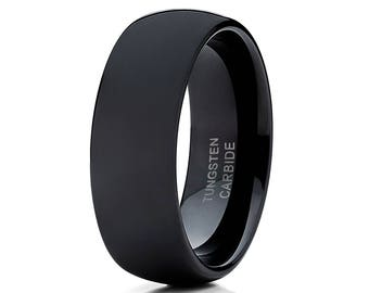Black Tungsten Wedding Band Shiny Polish Tungsten Carbide Ring Anniversary Men & Women Black Wedding Band