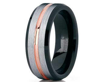 Men's Tungsten Wedding Band Rose Gold Ring Tungsten Carbide Ring Men & Women Brush Wedding Band 18k Rose Gold