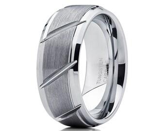 Gray Tungsten Wedding Band Men & Women Tungsten Carbide Ring Silver Tungsten Ring Brush Wedding Ring Groove Design
