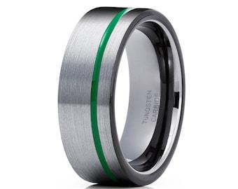 Gunmetal Wedding Band Green Tungsten Ring Anniversary Ring Men & Women Tungsten Carbide Ring Green Tungsten Ring Comfort Fit