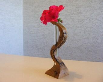 handmade, decorative flower vase made of wood with test tube