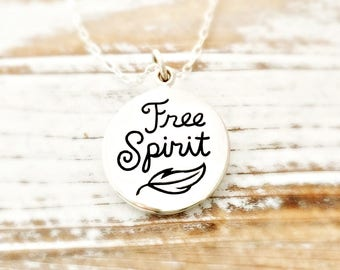 Free Spirit Necklace - feather sterling silver nature jewelry - find your way - adventure - wanderlust - gift for her - travel