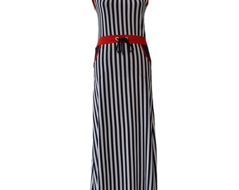 Striped long dress with red belt 0134