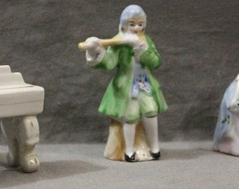 Set of 4pc Colonial Musicians Occupied Japan Victorian Figurines Gold Trimmed