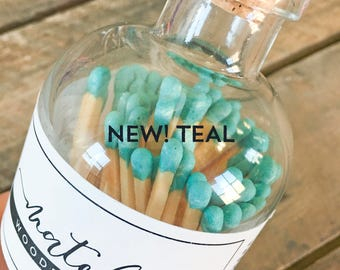 Teal Colored Tip Matches. Match Sticks Refills Bulk Unbottled 50 Count Farmhouse Home Decor Gifts for Her Best Seller Most Popular Item