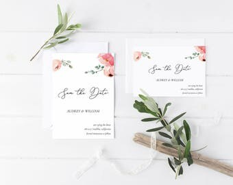 Printable Save The Date Set PDF, Save The Date 5x7 and 7x5 Invitiation, DIY Wedding Card, Wedding Template, Wedding DIY, 210-211mv-11