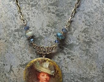 Vintage old Greuze portrait Medallion Necklace: white hat