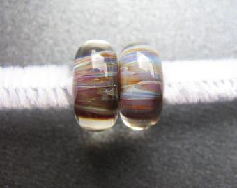 BORO Lampwork Beads Pair, Borosilicate Lampwork Pair, Green, Blue, Ruby, Yellow, Violet, Tan, Ivory, Handmade Lampwork Beads, OOAK - HGD903