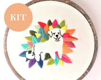 Dog Embroidery Kit | Floral Christmas Embroidery Pattern | Modern Dog Embroidery Pattern | Gift for Her | Birthday Gift