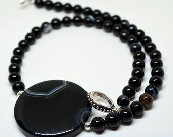 Black necklace, beaded necklace, black agate necklace, agate necklace, striped agate necklace, black agate pendant