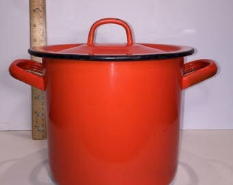 Vintage Orange Italian Enamelware Pot with Lid